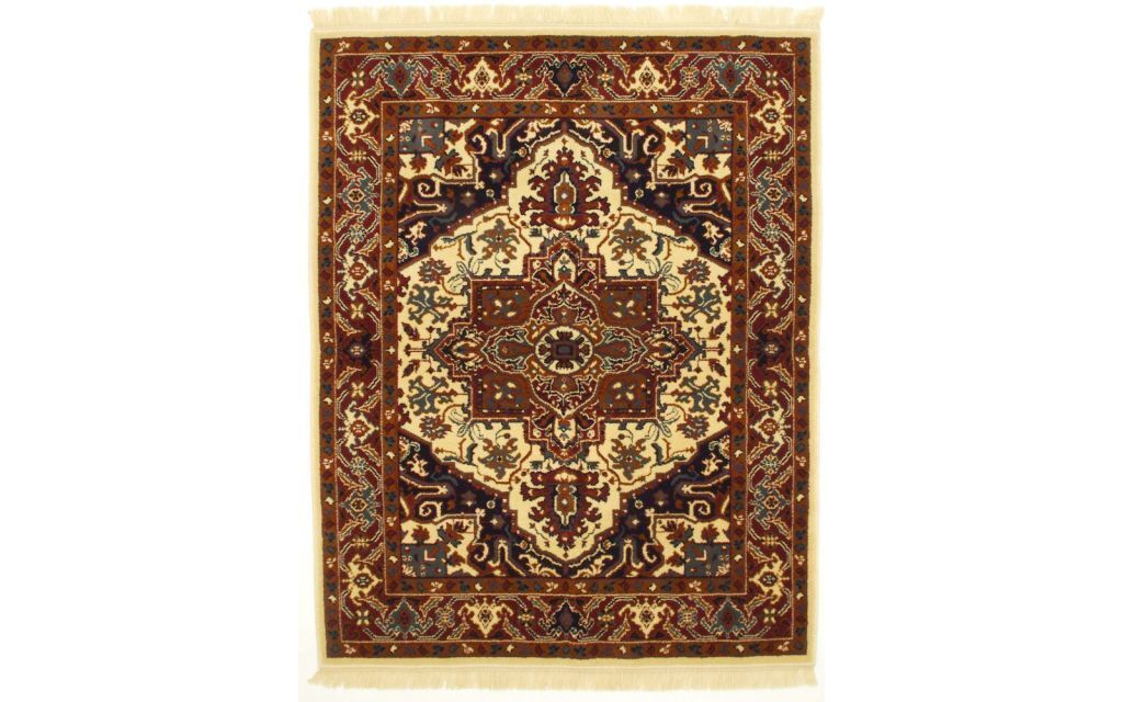 Op deze afbeelding zie je een Smyrna tafelkleed met perzische stijl ook wel pluche genoemd