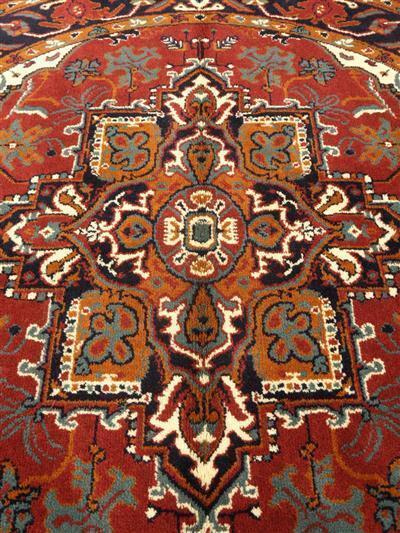Smyrna tafelkleden van scheerwol staan op deze afbeelding