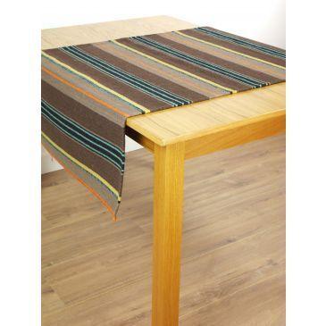 Kelim Stripes Bruin-Turquoise